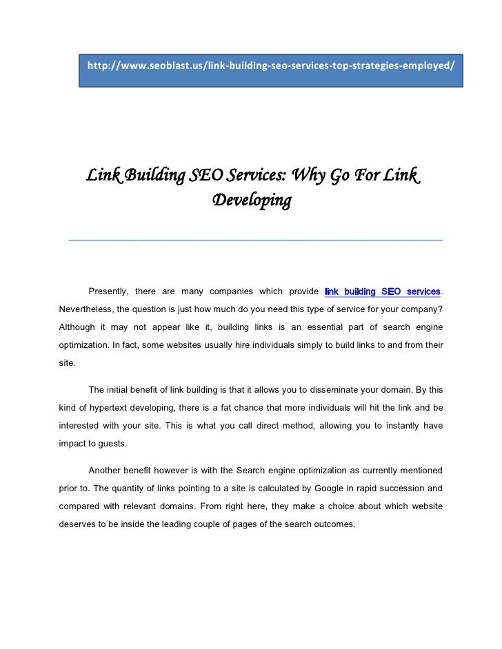 http://www.seoblast.us/link-building-seo-services-top-strategies-employed/        Link Building SEO Services: Why Go For L...