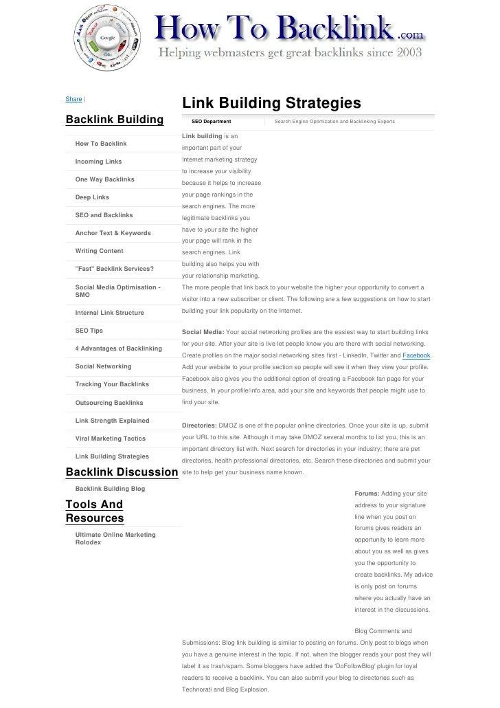 Share |                                  Link Building Strategies Backlink Building                   SEO Department      ...