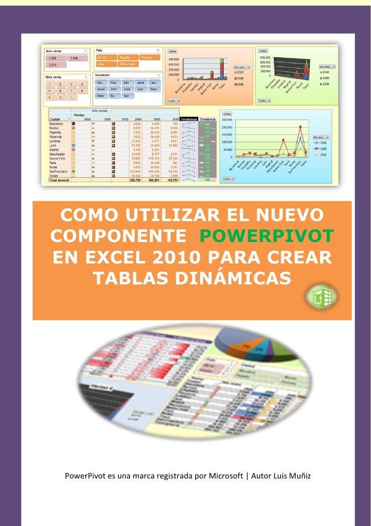 16-2-2011 COMO UTILIZAR EL NUEVOCOMPONENTE POWERPIVOTEN EXCEL 2010 PARA CREAR    TABLAS DINÁMICAS                1        ...