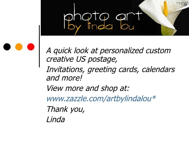 A quick look at personalized custom creative US postage,  Invitations, greeting cards, calendars and more! View more and s...