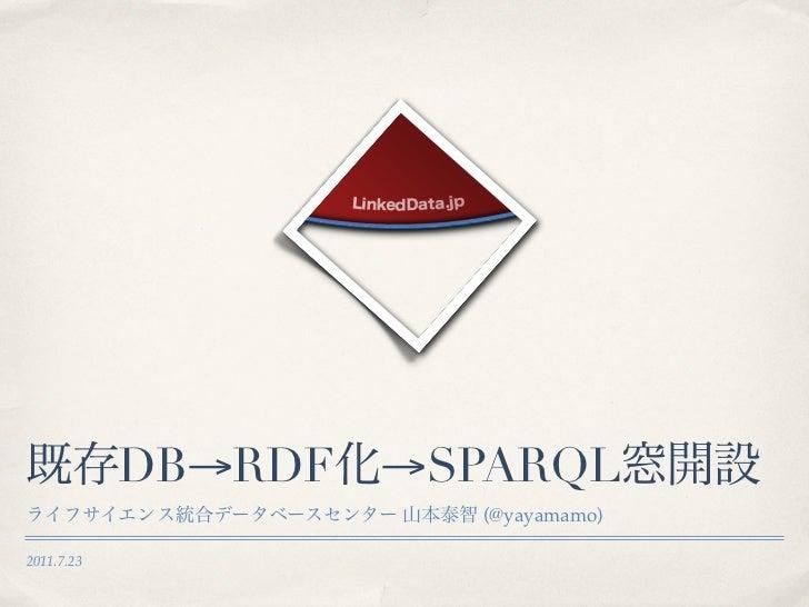 DB→RDF →SPARQL                      (@yayamamo)2011.7.23