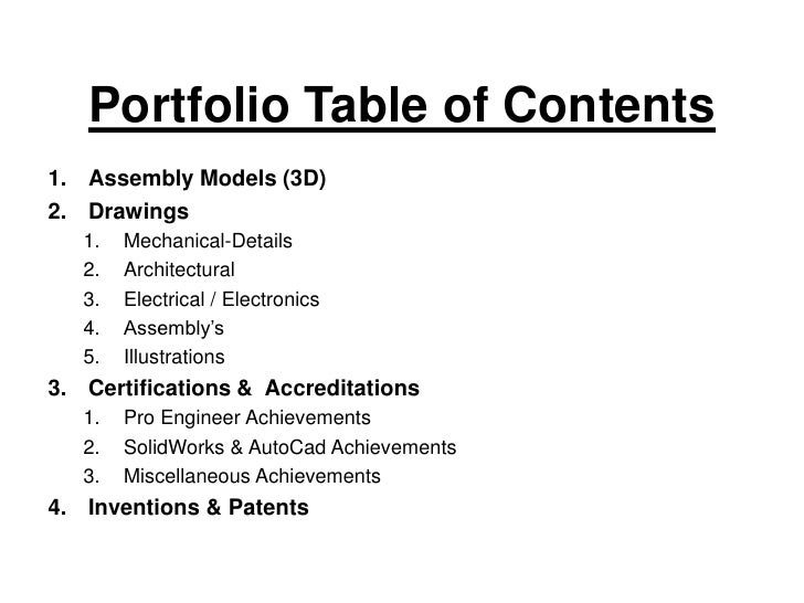 Gallery Table Of Contents Examples For Portfolio