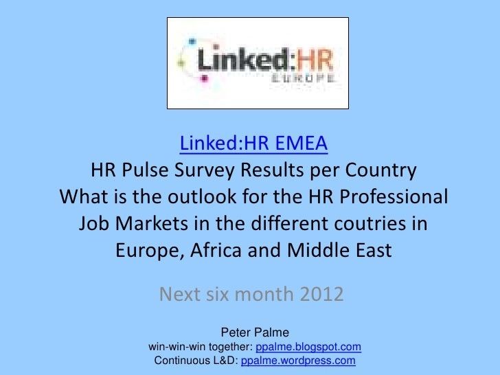 The Linked:HR EMEA Linikedin Group Pulse Survey Results on the outlook of the HR Profession Job Market