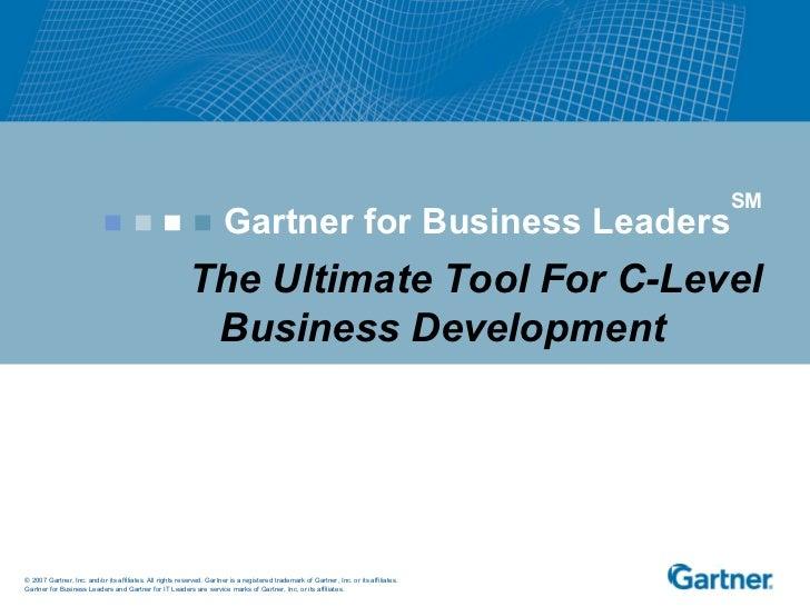 Gartner for Business Leaders SM The Ultimate Tool For C-Level Business Development