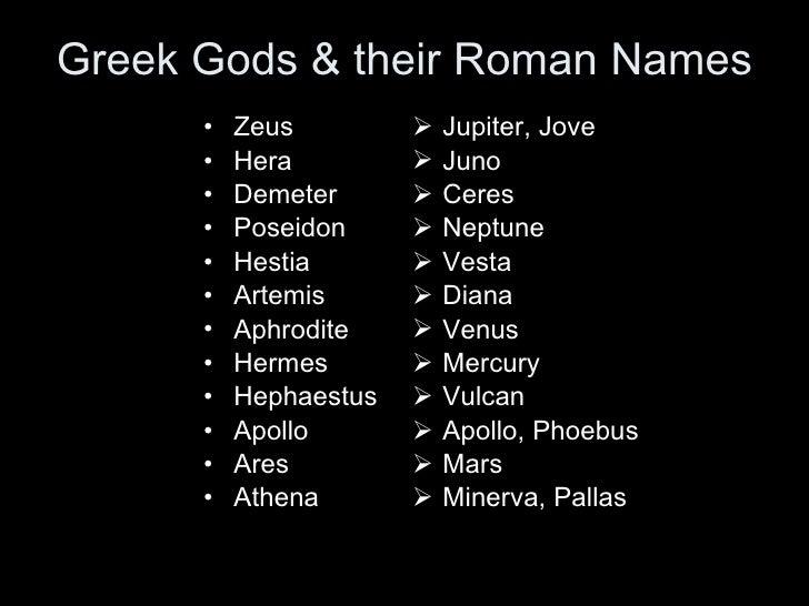 Greek Gods & their Roman Names <ul><li>Zeus </li></ul><ul><li>Hera </li></ul><ul><li>Demeter </li></ul><ul><li>Poseidon </...
