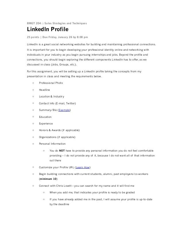 BMGT 204 :: Sales Strategies and Techniques  LinkedIn Profile 25 points | Due Friday, January 26 by 8:00 pm LinkedIn is a ...