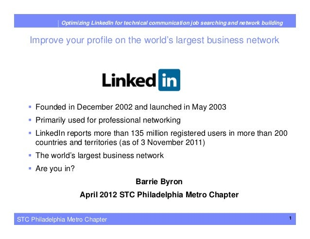 Optimizing LinkedIn for Technical Communication Job Searching and Network Building