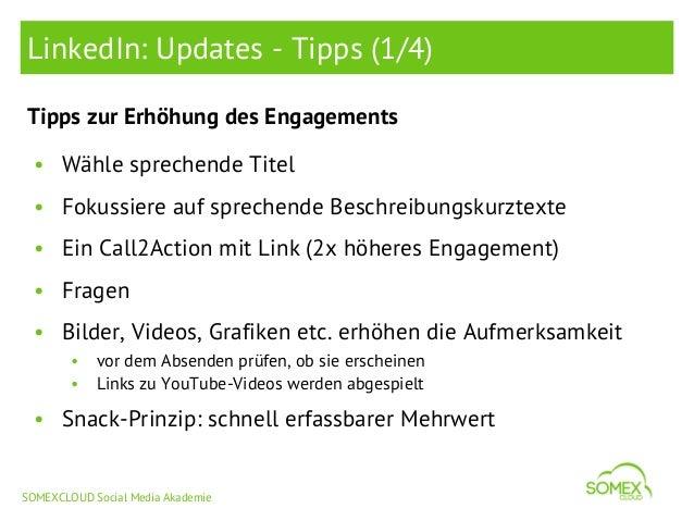 LinkedIn: Updates - Tipps (1/4) Tipps zur Erhöhung des Engagements • Wähle sprechende Titel • Fokussiere auf sprechende Be...