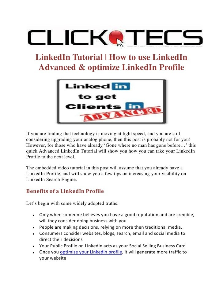 Linked in tutorial-how-to-use-linkedin-advanced-and-optimize-linkedin-profile