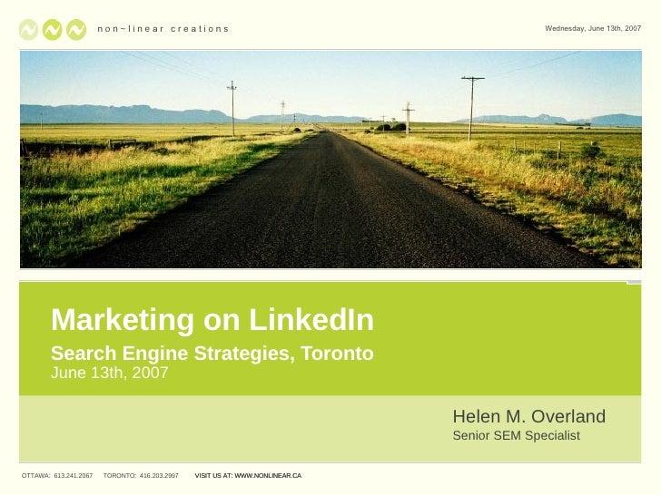Marketing on Linkedin - SES Toronto 2007