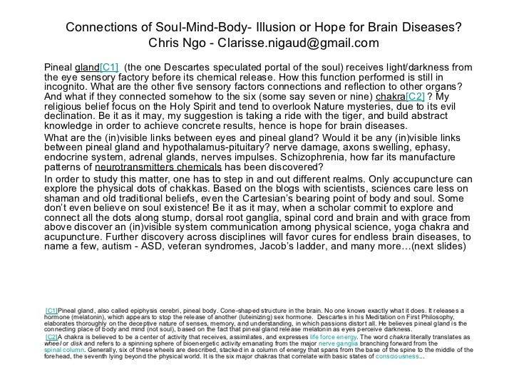 Connections of Soul-Mind-Body- Illusion or Hope for Brain Diseases?                    Chris Ngo - Clarisse.nigaud@gmail.c...