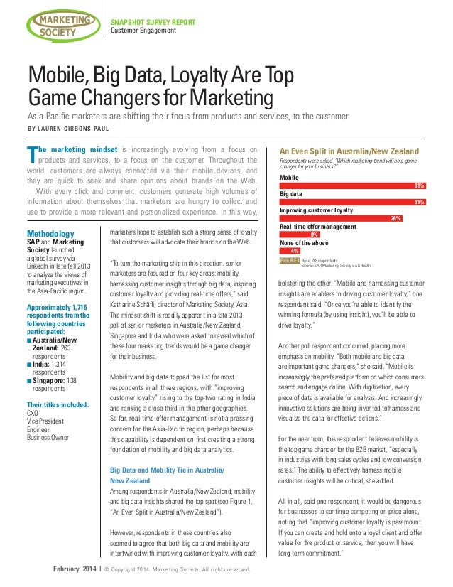 Mobile, Big Data, Loyalty are top game changers for marketing.