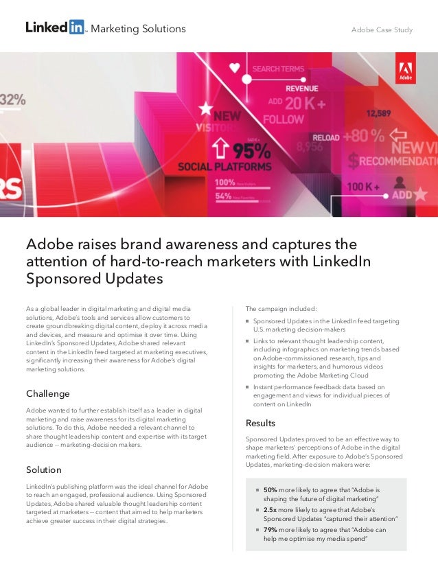 Marketing Solutions The campaign included:  Sponsored Updates in the LinkedIn feed targeting U.S. marketing decision-make...