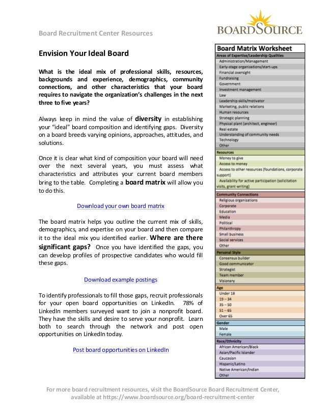BoardSource Envision your ideal board (one pager)