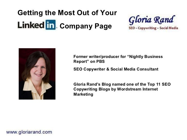 "Former writer/producer for ""Nightly Business Report"" on PBS SEO Copywriter & Social Media Consultant  Gloria Rand's Blog n..."