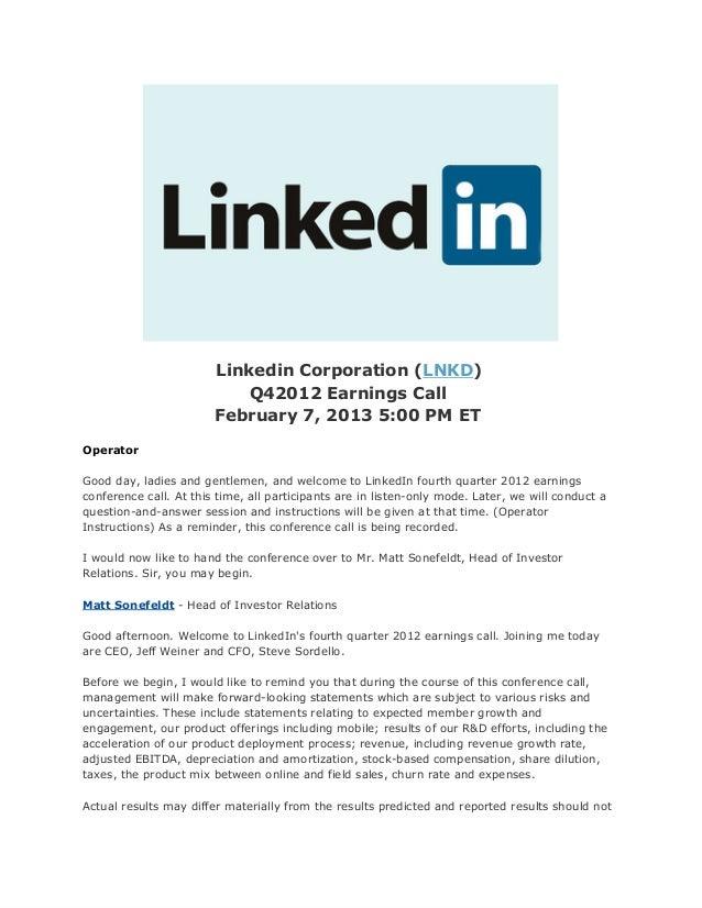LinkedIn Earnings Call Report Transcript Q4 2012