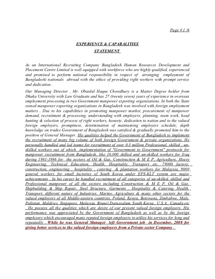Linked In Exp & Capability Statement