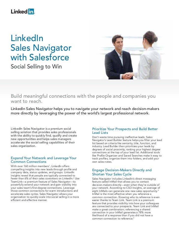 LinkedInSales Navigatorwith SalesforceSocial Selling to WinBuild meaningful connections with the people and companies youw...