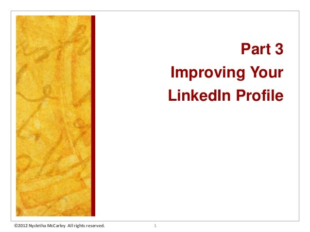 LinkedIn Hands-On Workshop Part 3 by Nykky McCarley