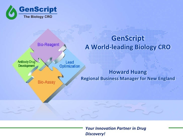 GenScript A World-leading Biology CRO Howard Huang Regional Business Manager for New England