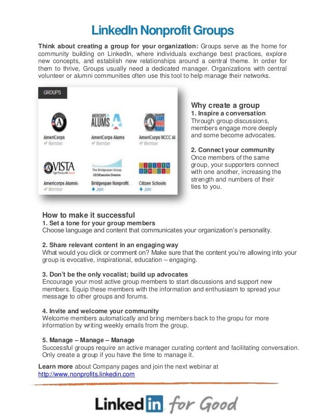 LinkedIn Groups for Nonprofits:  Overview