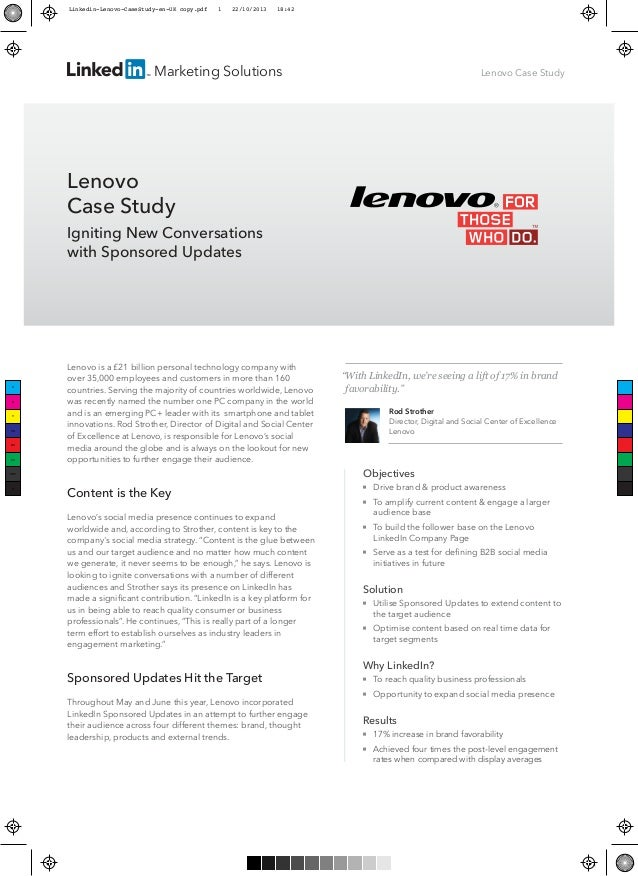 Marketing Solutions  Lenovo Case Study  Lenovo Case Study Igniting New Conversations with Sponsored Updates  Lenovo is a £...