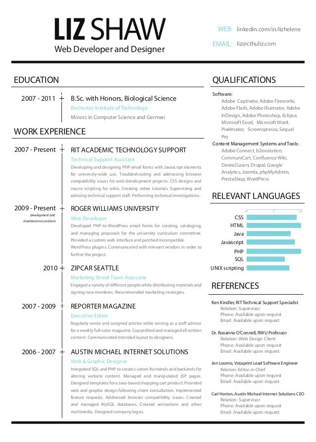 Opposenewapstandardsus  Terrific Resume Web Development And Design With Exquisite Liz Shaw Web Developer  With Delightful Infographics Resume Also Deloitte Resume In Addition Field Service Technician Resume And Resume Objective For Nursing As Well As Resume Summary Tips Additionally Subject Matter Expert Resume From Slidesharenet With Opposenewapstandardsus  Exquisite Resume Web Development And Design With Delightful Liz Shaw Web Developer  And Terrific Infographics Resume Also Deloitte Resume In Addition Field Service Technician Resume From Slidesharenet