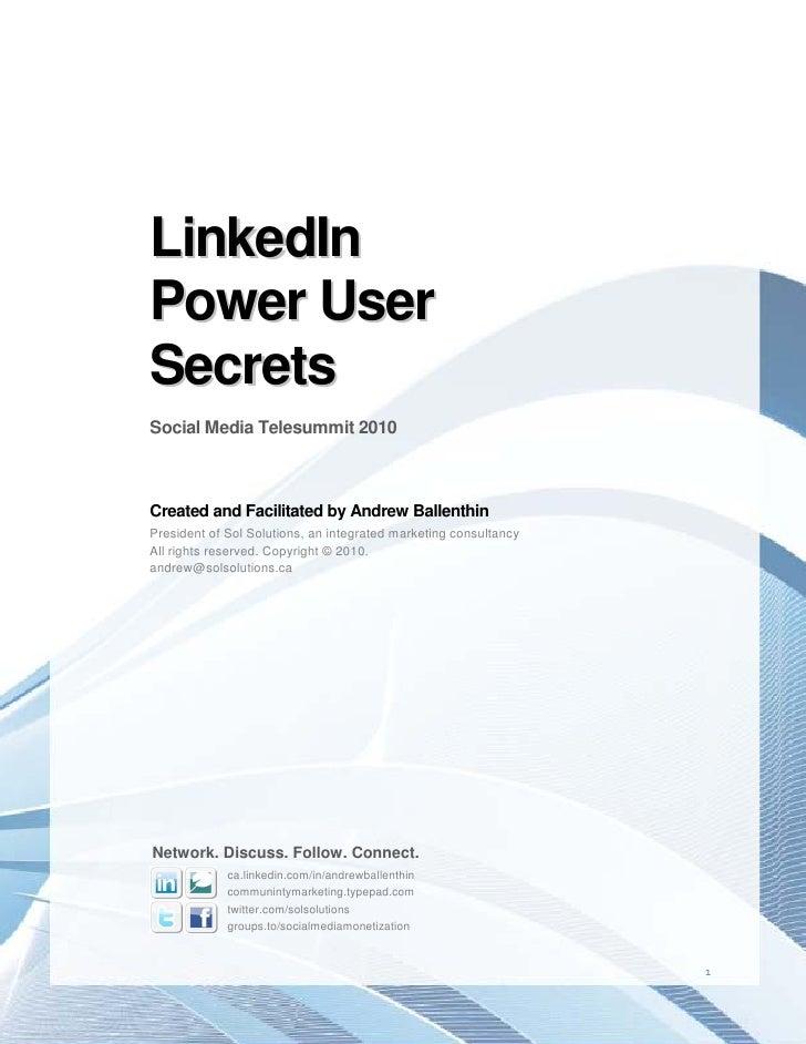 Linked In Power User Secrets