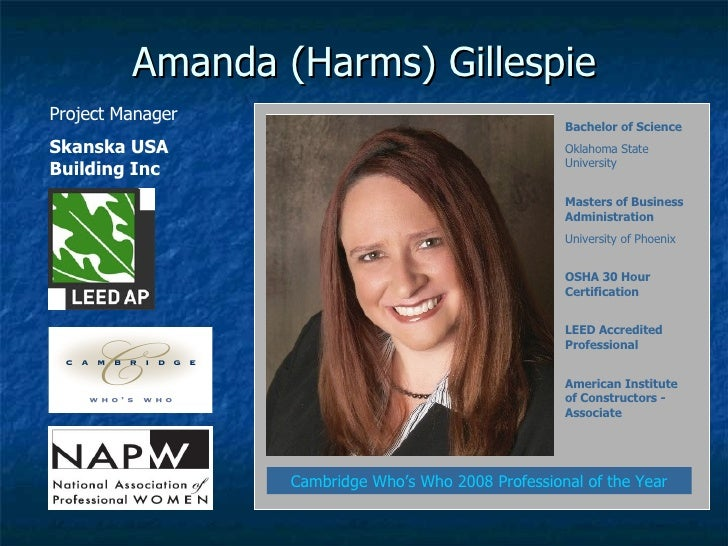 Amanda (Harms) Gillespie Project Manager Skanska USA Building Inc Cambridge Who's Who 2008 Professional of the Year Bachel...