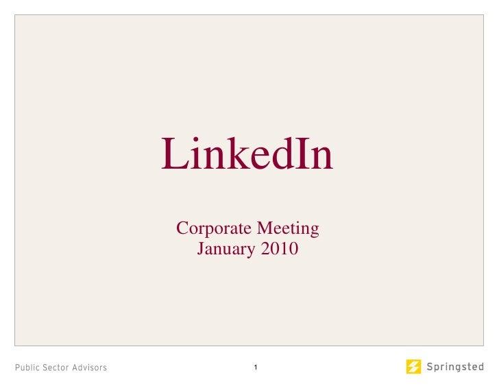 LinkedIn Corporate Meeting January 2010