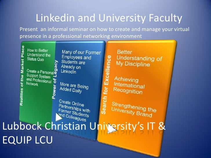 Linkedin and University Faculty<br />Present  an informal seminar on how to create and manage your virtual presence in a p...