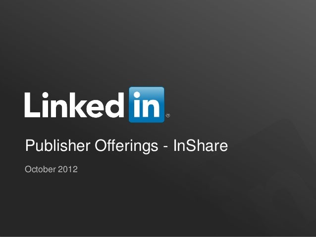 Publisher Offerings - InShareOctober 2012