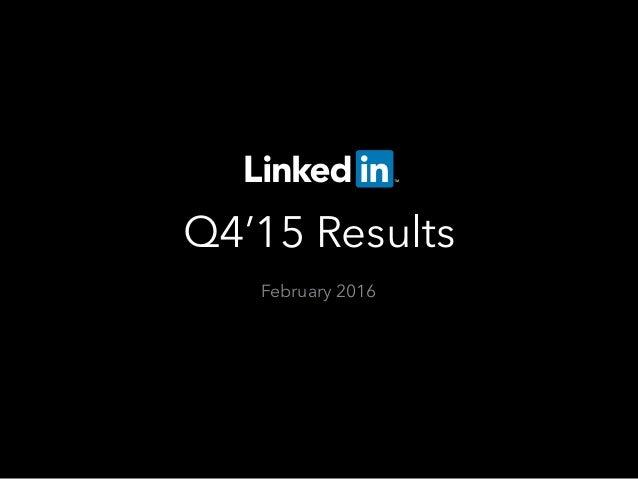 Q4'15 Results February 2016