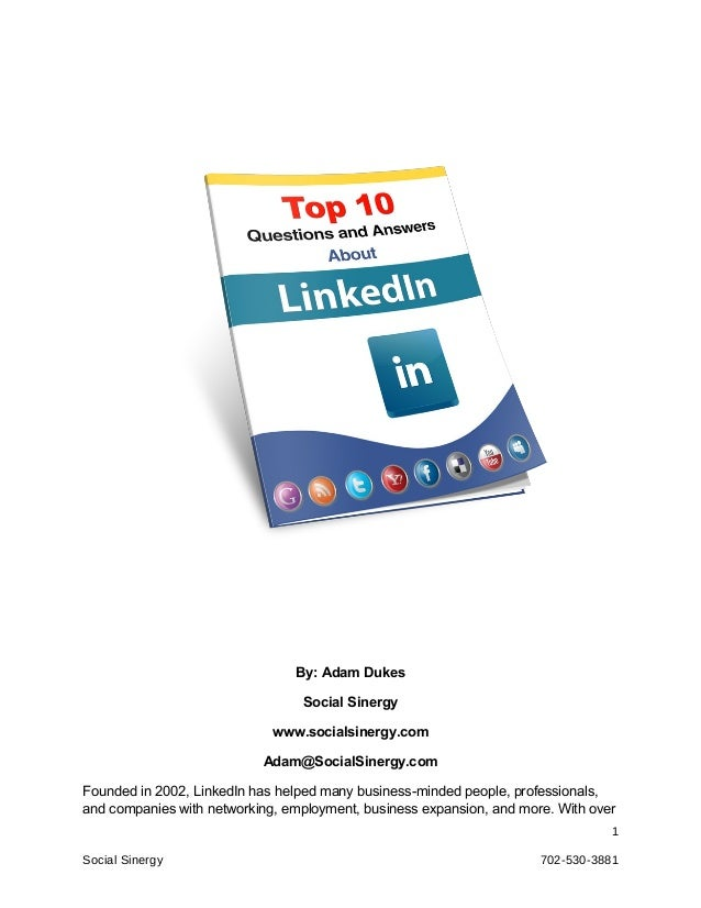 By: Adam Dukes                                 Social Sinergy                             www.socialsinergy.com           ...