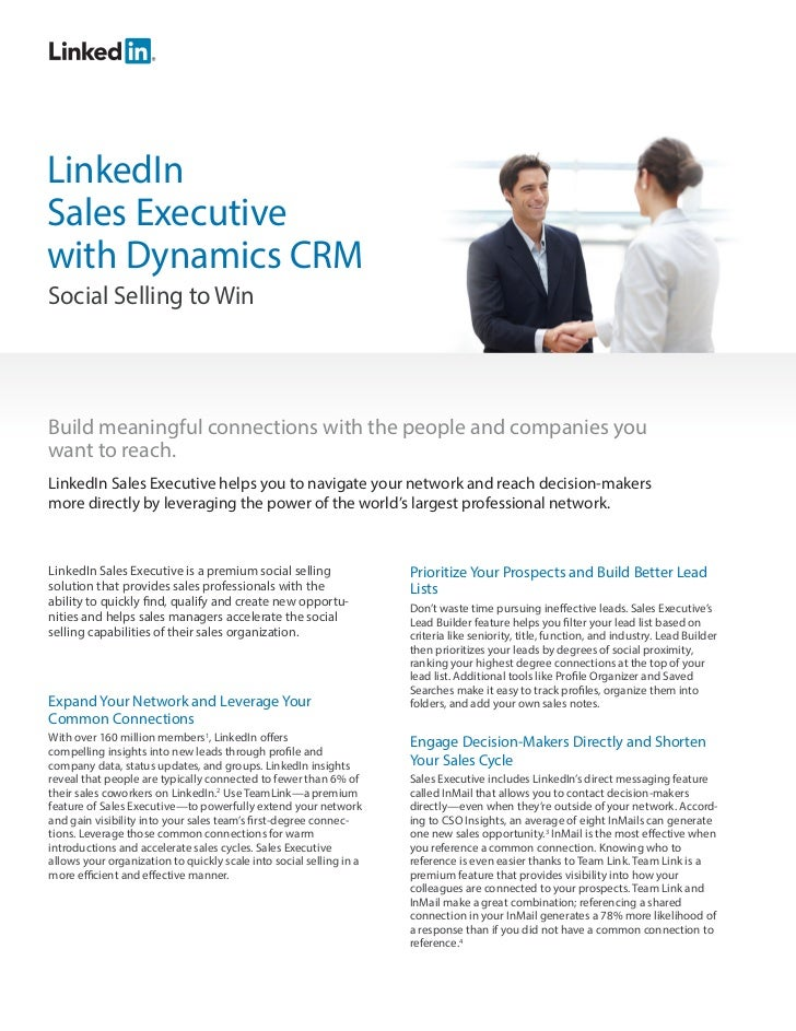LinkedInSales Executivewith Dynamics CRMSocial Selling to WinBuild meaningful connections with the people and companies yo...
