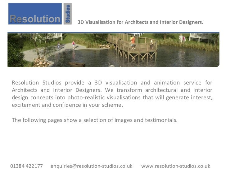 3D Visualisation for Architects and Interior Designers. Resolution Studios provide a 3D visualisation and animation servic...