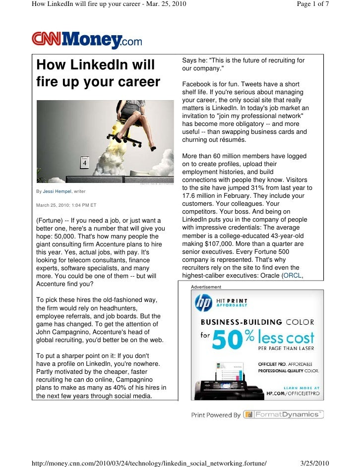 How LinkedIn will fire up your career - Mar. 25, 2010                                         Page 1 of 7                 ...