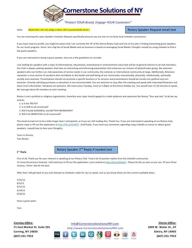 LinkedIn speaker request