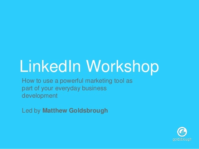 Overview of what's involved in my LinkedIn Workshop for senior executives