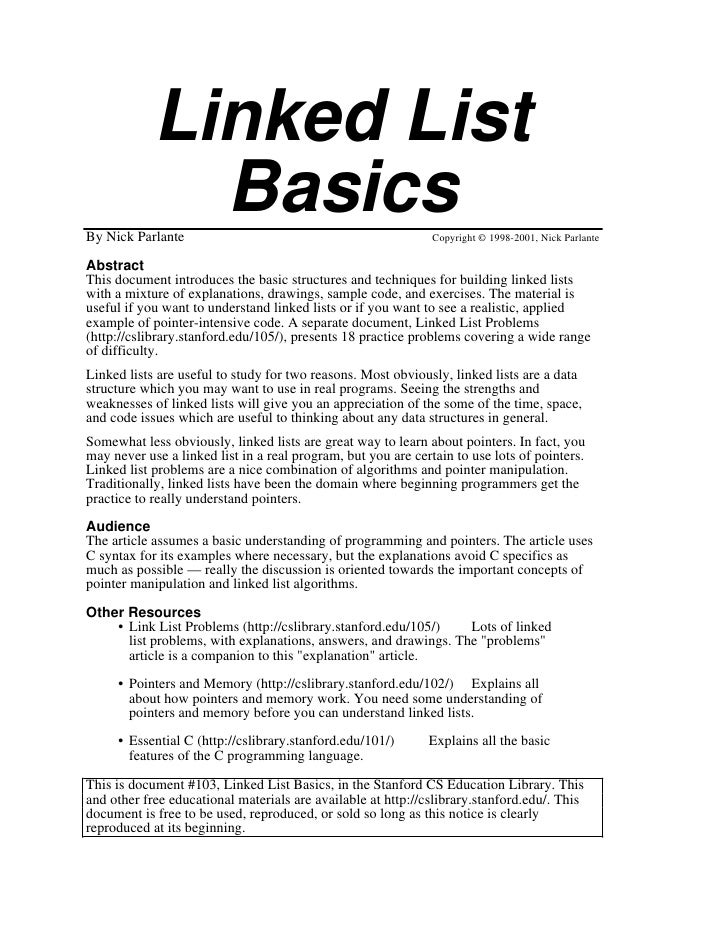 Linked List              BasicsBy Nick Parlante                                               Copyright © 1998-2001, Nick ...