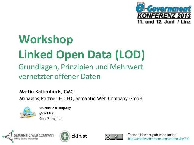 okfn.atWorkshopLinked Open Data (LOD)Grundlagen, Prinzipien und Mehrwertvernetzter offener DatenMartin Kaltenböck, CMCMana...