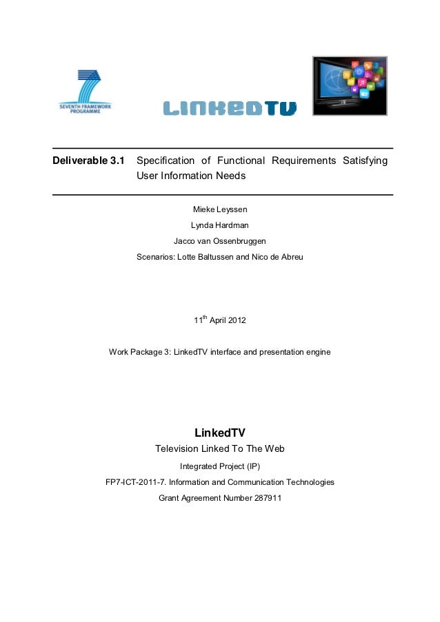 D3.1. Specification of Functional Requirements Satisfying User Information Needs