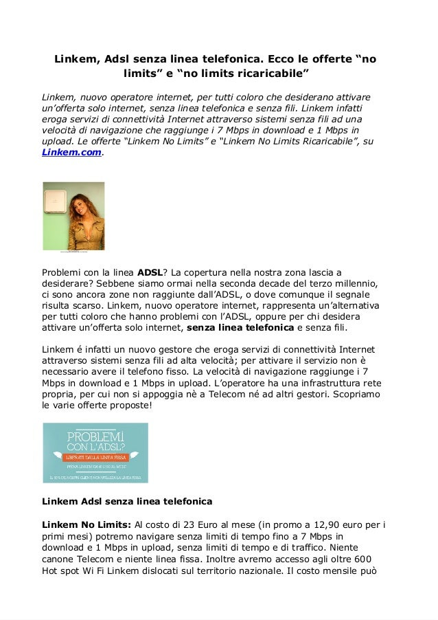 Linkem: Adsl senza linea telefonica