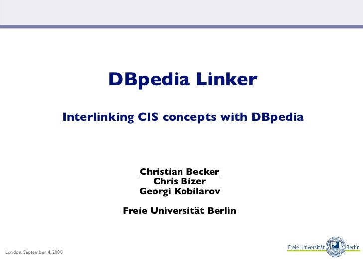 DBpedia Linker                         Interlinking CIS concepts with DBpedia                                        Chris...