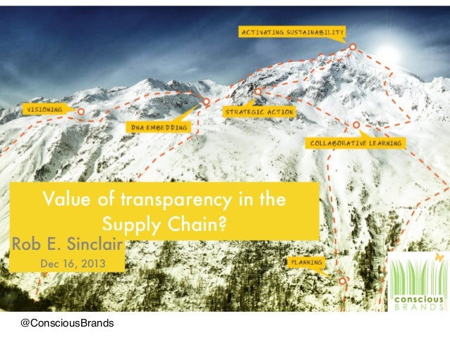 Value of transparency in the Supply Chain? Rob E. Sinclair Dec 16, 2013 @ConsciousBrands