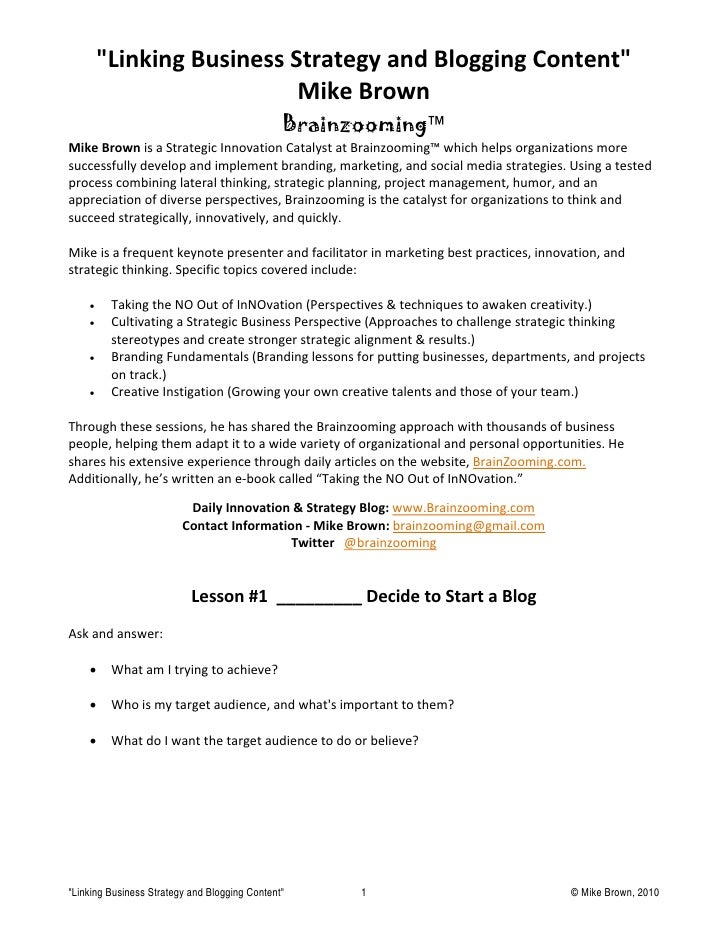Linking Business Strategy And Blogging Content By Mike Brown