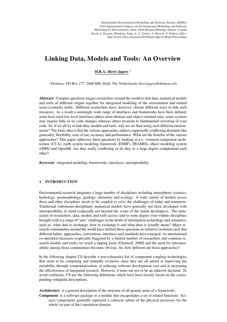 Linking data, models and tools an overview