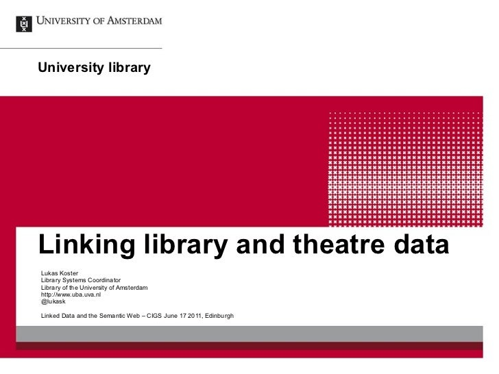 Linking library and theatre data Lukas Koster Library Systems Coordinator Library of the University of Amsterdam http://ww...