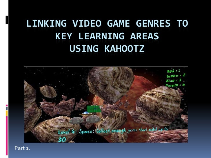 Linking video game Genres toKey Learning Areasusing Kahootz<br />Part 1.<br />