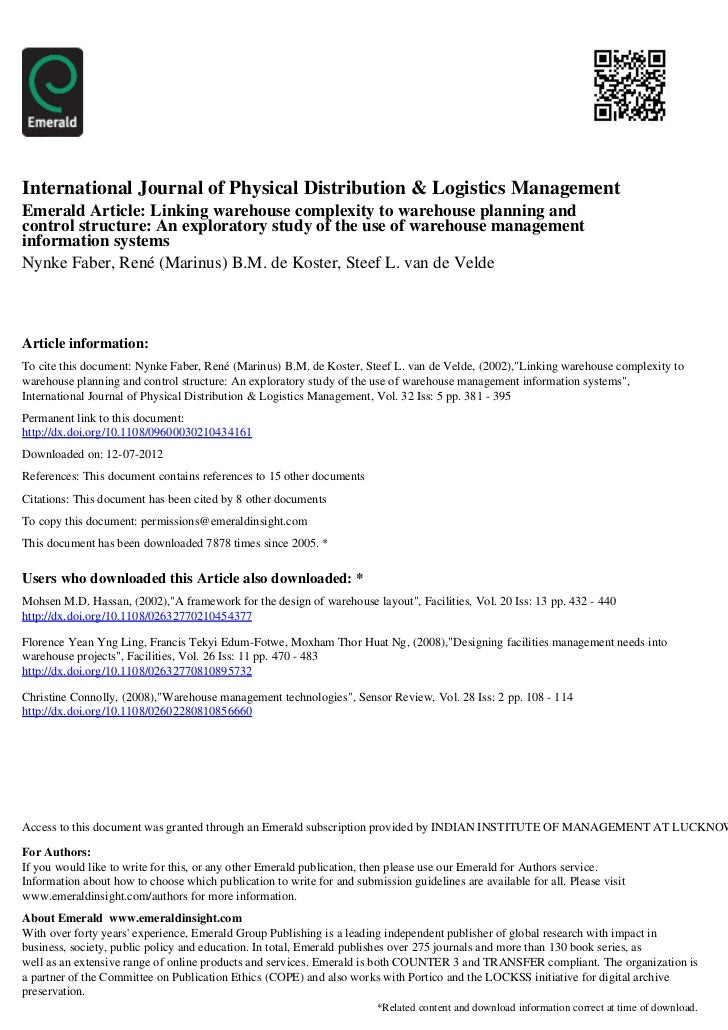 International Journal of Physical Distribution & Logistics ManagementEmerald Article: Linking warehouse complexity to ware...